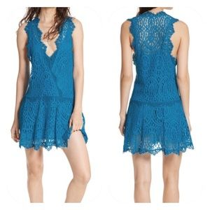 Free People Heart in Two Turquoise Lace Mini Dress